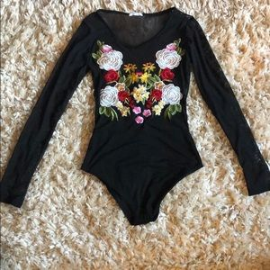 Viola long sleeve black mesh bodysuit.